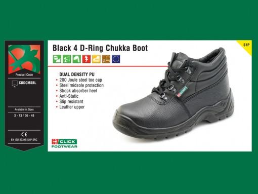 Black 4 D-Ring Chukka Boot (S1P)