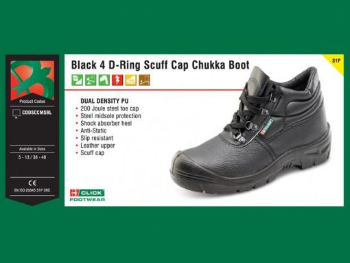 Black 4 D-Ring Scuff Cap Chukka Boot