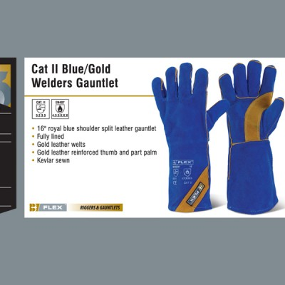 Cat II Blue Gold Welders Gauntlet