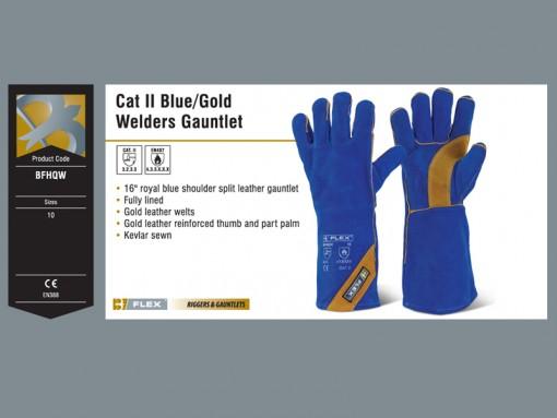 Cat II Blue Gold Welders Gauntlet