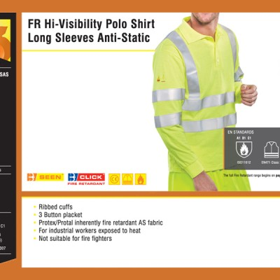 FR Hi-Visibility Polo Shirt Long Sleeves Anti-Static