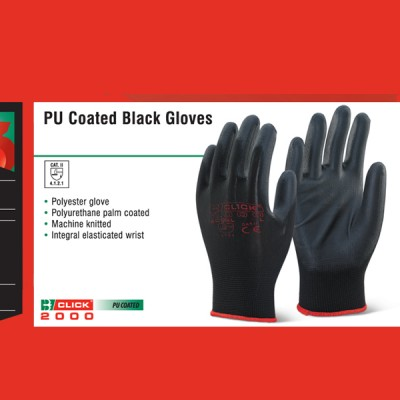 PU Coated Black Gloves