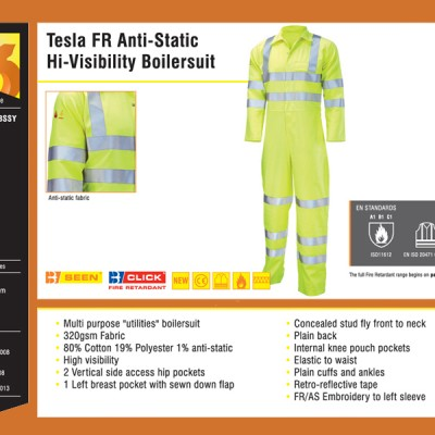 Tesla FR Anti-Static Hi-Visibility Boilersuit
