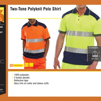 Two-Tone Polyknit Polo Shirt
