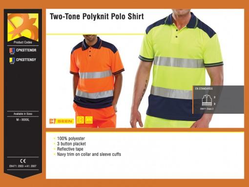 Two-Tone Polyknit Polo Shirt
