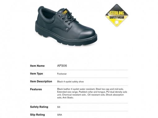 Black 4 Eyelet Safety Shoe AP306
