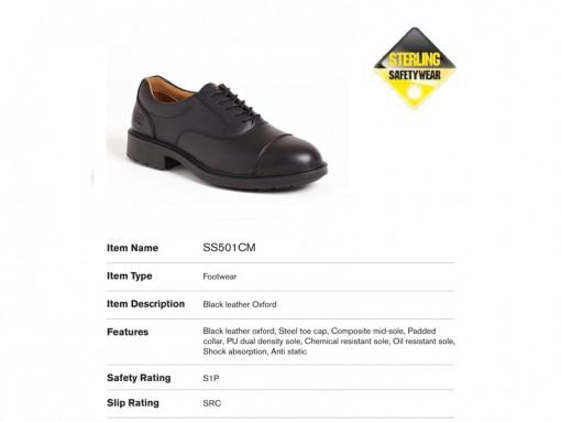 Black Leather Oxford Steel Toe Cap Shoe SS501CM