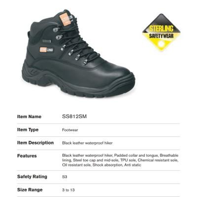 Black Leather Waterproof Hiker SS812SM